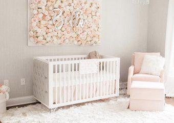Bella Crib Beige Beige Linen Upholstered