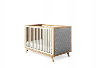Romina Uptown Classic Crib Tufted Panel Dove and Grey Linen