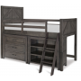 bunkhouse mid loft bed twin with dresser and bookcase 1
