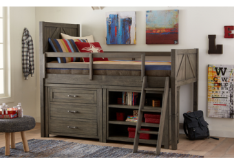 bunkhouse mid loft bed twin with dresser and bookcase