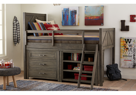 Bunkhouse Mid Loft Twin Bed with Single Dresser & Bookcase
