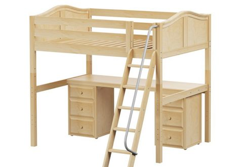 Maxtrix High Loft Twin Bed With Angle Ladder, Long Desk and 2×3 Drawer Dressers