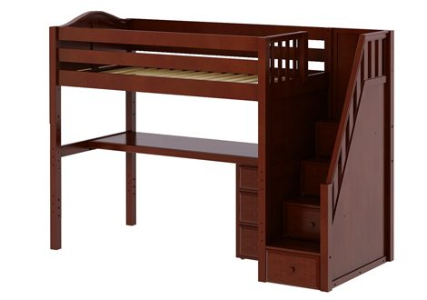 Maxtrix High Loft Twin Bed With Staircase, Long Desk and 3 1/2 Drawer Dresser