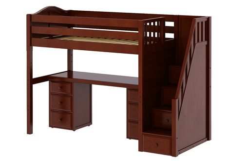 Maxtrix High Loft Full Bed With Staircase, Long Desk and 2×3 1/2 Drawer Dresser