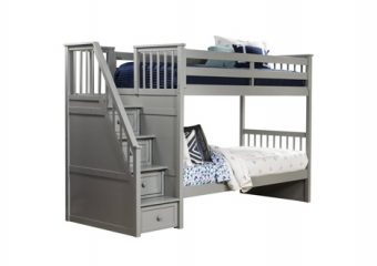 SCHOOLHOUSE TWIN STAIR BUNK GRAY