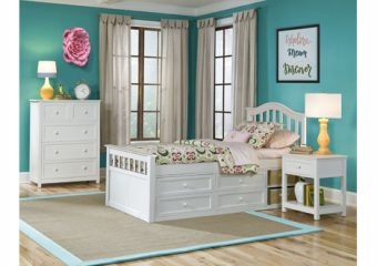 FINLEY TWIN CAPTAINS BED IN WHITE