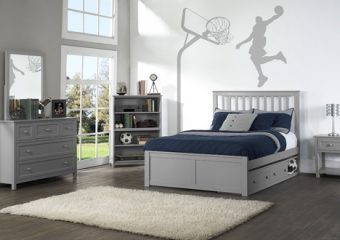 MARLEY FULL MISSION BED IN GRAY WITH UNDERBED STORAGE