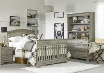 Florenza Crib in Dove Grey Room View Full Bed