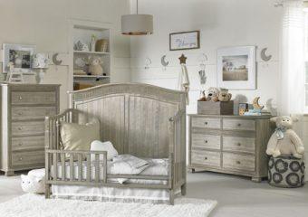 Florenza Crib in Dove Grey Room View Toddler Rail
