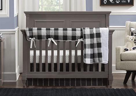 Black and White Buffalo Check 4pc Crib Bedding Set
