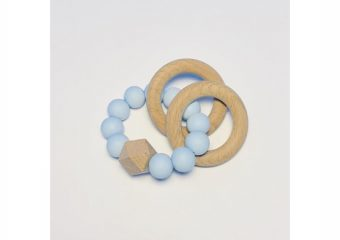 Silicone + Beechwood Teether - 2 Ring - Blue