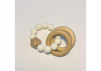 Silicone + Beechwood Teether - 2 Ring - White