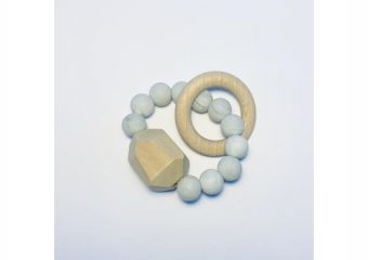 Silicone + Beechwood Teether - Gem - Marble
