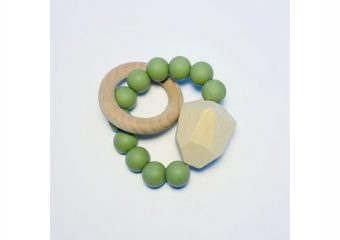 Silicone + Beechwood Teether - Gem - Moss