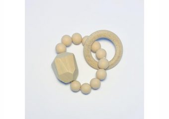 Silicone + Beechwood Teether - Gem - Natural