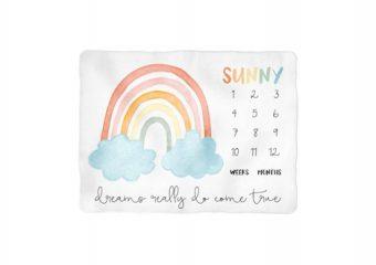 Colorful Rainbow Milestone Blanket - Personalized