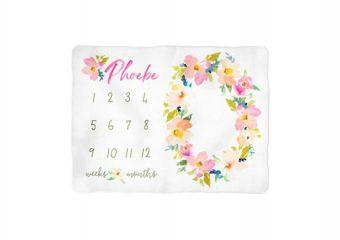Garden Floral Milestone Blanket - Personalized