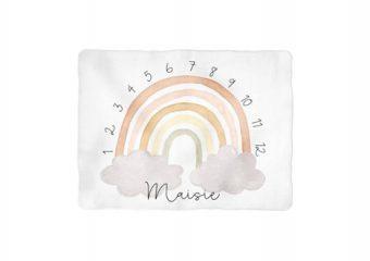 Neutral Rainbow Arch Milestone Blanket - Personalized
