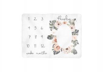 Tropical Boho Floral Milestone Blanket - Personalized