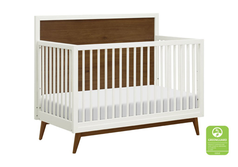 Palma 4-in-1 Convertible Crib in Warm White/Natural Walnut with Toddler Guard Rail