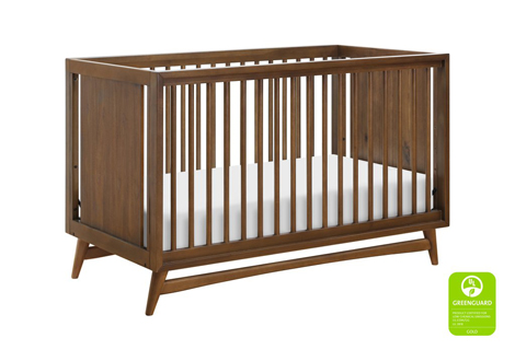 Peggy 3-in-1 Convertible Crib in Natural Walnut with Toddler Guard Rail